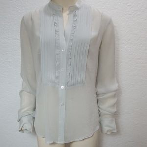 THEORY Gray Silk Blouse Ruffle Long Sleeve Buttons